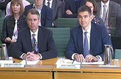 Tom Hutchinson et Matt Brittin face à la Chambre des communes.