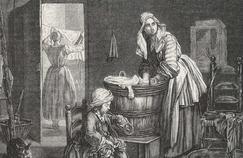 Gravure ancienne représentant une blanchisseuse vers 1850.