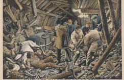 Illustration de la catastrophe de Courrières parue dans «Le Petit Journal» du 25 mars 1906: les sauveteurs arrivent dans les galeries de la mine.