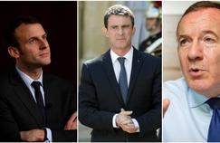 Emmanuel Macron, ministre de l'Economie, Manuel Valls, premier ministre, et Pierre Gattaz, patron du Medef.