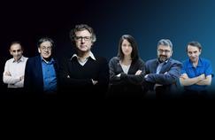 De gauche à droite: Éric Zemmour, Alain Finkielkraut, Michel Onfray, Zineb El Rhazoui, Mohamed Sifaoui, Michel Houellebecq.
