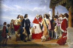 Richelieu présente le peintre Nicolas Poussin à LouisXIII. Peinture de Jean Alaux, dit le Romain (1786-1864), détail, 1832.