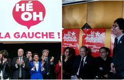 À gauche: le meeting de «Hé oh la gauche». À droite: le lancement de la Belle alliance populaire.