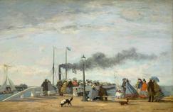 «L'Embarcadère et la jetée de Trouville», Eugène Boudin, 1863.