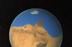 Vision d'artiste de l'océan primitif sur la planète Mars.