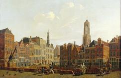 «Utrecht Town Hall Bridge with Surroundings», signée par Izaak Ouwater, le même auteur que la toile retrouvée à Kiev.