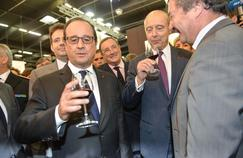 François Hollande et Alain Juppé au salon Vinexpo 2015