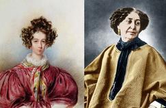 À gauche, portrait de George Sand (1804-1876) par Candide Blaize en 1830. À droite, photographiée par Nadar en 1864.
