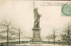 Carte postale statue de la liberté au pont de Grenelle 1900