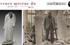 "Right: This coat, nicknamed the ""genius of the cloak"" is the symbol of the freedom of the writer. Left: Rodin Meudon in his workshop about 1902. © RODIN MUSEUM (PHOTO CHRISTIAN Baraja)."