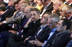 Alain Juppé, Nicolas Sarkozy, François Fillon et Bruno Le Maire à Nogent-sur-Marne, le 27 septembre 2015.