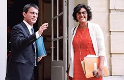 Manuel Valls et Myriam El Khomri, lors de la réunion avec les dirigeants syndicaux, mercredi à Matignon.