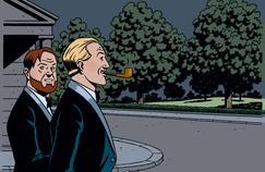 Blake et Mortimer en tenue de soirée. L'image, réalisée spécialement par André Juillard pour Le Figaro Magazine, est inspirée d'une case du Testament de William S.