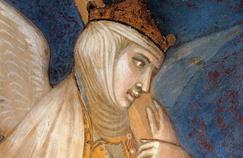 Allégorie de la foi tenant la croix du Christ, détail de la fresque d'Ambrogio Lorenzetti (1290-1348). Palazzo Pubblico de Sienne.