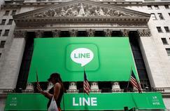 Le NYSE aux couleurs de l'application Line, le 14 juillet.