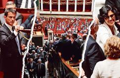 10mai: La première lecture à l'Assemblée nationale tourne à la bataille rangée. Manuel Valls dégaine le 49-3. / 5juillet: Après avoir été réécrit au Sénat, le projet de loi arrive en seconde lecture à l'Assemblée. L'exécutif doit encore dégainer le 49-3. / 20juillet Aucune majorité certaine ne se dégageant sur le texte, le gouvernement doit une dernière fois utiliser le 49-3 pour l'adoption définitive.