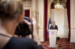 François Hollande, lors de son intervention sur la situation dans la lutte contre le terrorisme, vendredi, à l'Élysée.