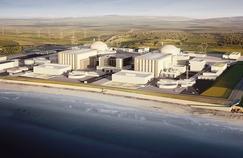 Une vue d'artiste de la centrale de Hinkley Point et ses deux réacteurs nucléaires EPR.