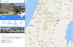 Le résultat de la recherche «Palestine» sur Google Maps.