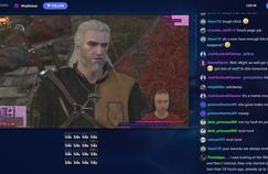 Une partie de The Witcher 3 diffusée sur Beam. Les boutons en bas à gauche permettent d'interagir avec le diffuseur.