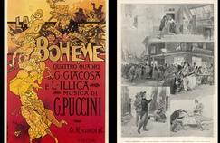 Affiche de La vie de Bohême par Adolphe Hohenstein, Milan 1895. À droite, scène de La Bohême à l'Opéra comique en 1898.