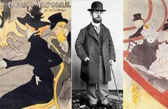 Au centre, photographie d'Henri de Toulouse-Lautrec en 1885. À gauche, le 'Divan japonais', lithographie de 1892 et à droite 'La grande loge' (1897).