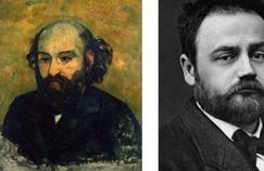 Autoportrait de Paul Cézanne (Musée de l'Hermitage, Saint-Petersbourg). À droite, Émile Zola vers 1870.