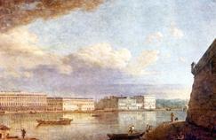 Vue sur le palais Embankment à Saint-Pétersbourg, ville russe située sur le delta de la Neva sur les bords de la mer Baltique. Tableau peint en 1794 par Fyodor Alekeyev.