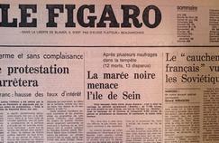 Une du Figaro parue le 16 octobre 1976, annonçant le naufrage du pétrolier le «Boehlen».
