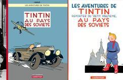 En 1929, le jeune Hergé a 21 ans. Quand il dessine la première couverture de «Tintin au pays des Soviets», il veut présenter son personnage, avec la silhouette du Kremlin en fond d'image. Elle a disparu de la nouvelle couverture.