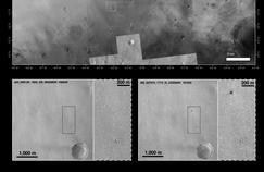 En bas, deux photos «avant-après» prises par la sonde américaine MRO de la surface de Mars. Sur la photo de droite, on distingue un point blanc (le parachute de Schiaparelli), et un point noir (le module lui-même).