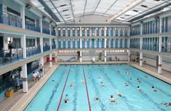 Vue de l'intérieur de la piscine située rue de Pontoise à Paris le 25 avril.