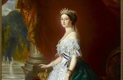 Portrait de 'impératrice Eugénie (détail), parFranzXaver Winterhalter (1855).