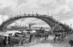 Le Bassin de la Villette dans lequel débouche le canal de l'Ourcq sert au 19e siècle de réserve d'eau potable et de voie de navigation.