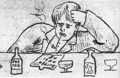 Arthur Rimbaud dessiné par Paul Verlaine en 1875.