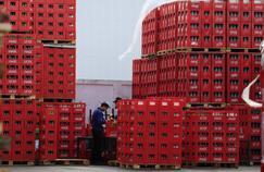 Des ouvriers travaillent sur le nouveau site Coca-Cola situé dans la zone industrielle de la bande de Gaza, jeudi.
