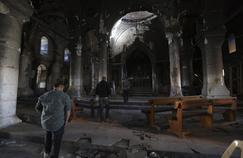 Une église détruite par Daech à Hamdaniyah au Nord de Mossoul en Irak.