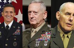 Les généraux Michael Flynn, James Mattis et John Kelly.