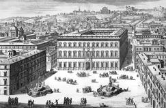 Gravure du palais Farnèse à Rome au XVIIe siècle.