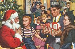 Publicité américaine datant des années 1950, figurant le Père-Noël acceuillant les enfants.