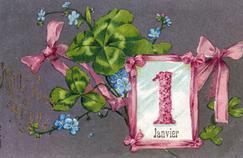 Carte postale de «Bonne Année» ruban rose et trèfles à quatre feuilles porte-bonheur, 1909.