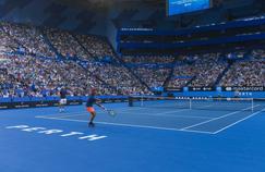 Roger Federer devant les tribunes pleines du stade de Perth avant son retour à la compétition dimanche.