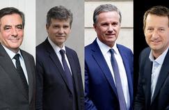 François Fillon, Arnaud Montebourg, Nicolas Dupont-Aignan et Yannick Jadot.