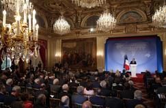 François Hollande s'exprime à l'Élysée lors de la Conférence des ambassadeurs, en août 2014.