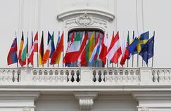 Les drapeaux des pays membres pendant une réunion de l'Union européenne en Slovéquie, en septembre 2016.