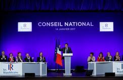 François Fillon à la tribune du conseil national des Républicains, samedi, salle de la Mutualité à Paris.