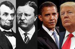Abraham Lincoln, Theodore Roosevelt, Barack Obama et Donald Trump.