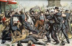 Terrible bagarre entre Apaches et agents de police, dans les rues de Paris. Illustration du «Petit Journal» du 14 août 1904.