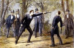 Scène de duel au pistolet, gravure anglaise vers 1874.
