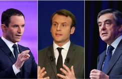 Benoît Hamon, Emmanuel Macron et François Fillon: chacun sa méthode concernant les dépenses publiques